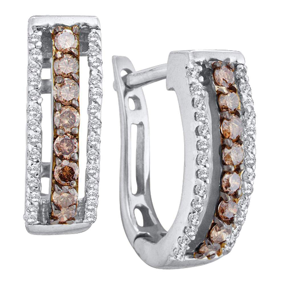 14kt White Gold  Round Brown Diamond Triple Row Huggie Earrings .50ct
