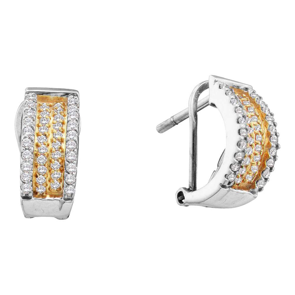 14kt White Gold  Round Diamond Huggie French-clip Earrings .50ct
