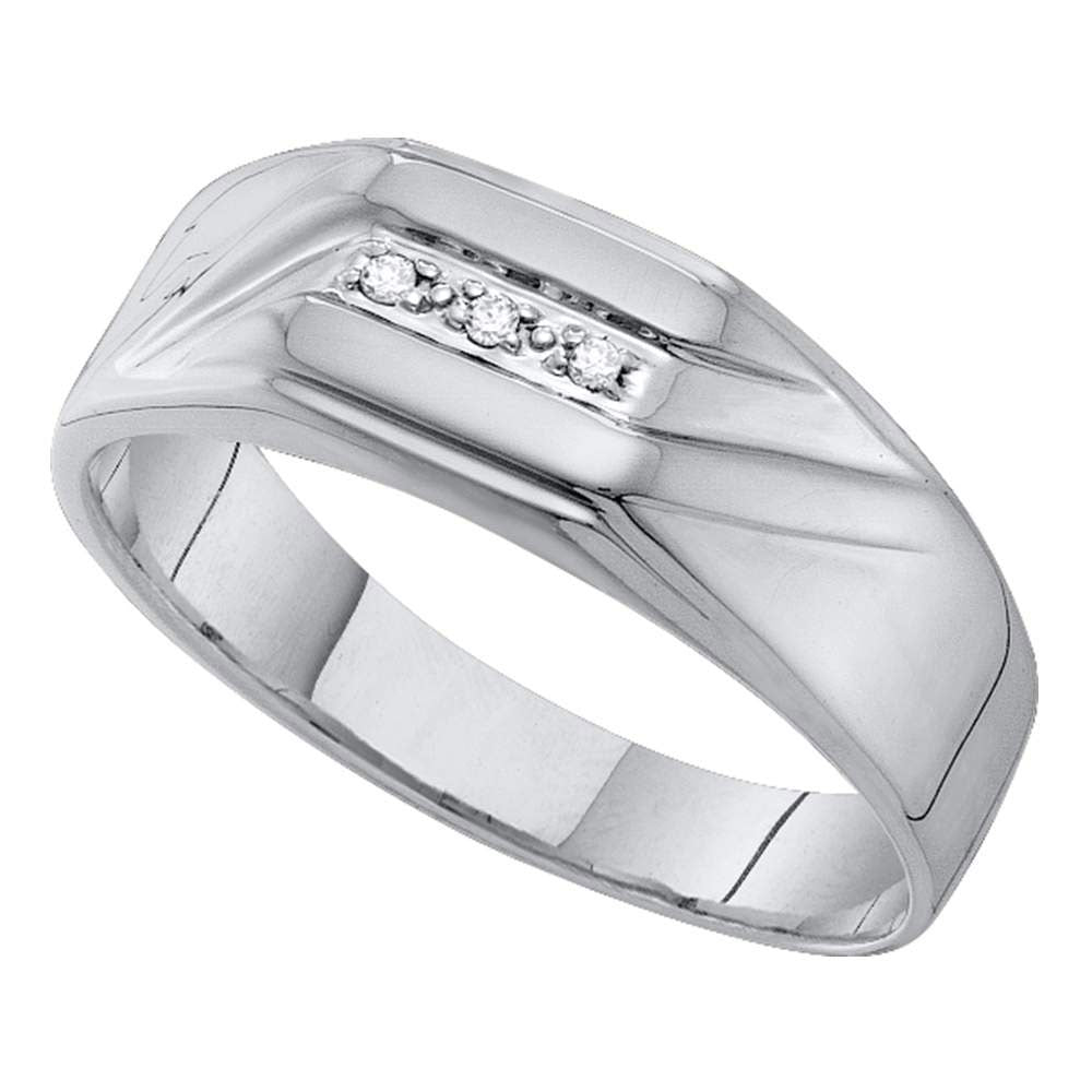 10kt White Gold Mens Round Diamond Grooved 3Stone Flag Band Ring .03ct