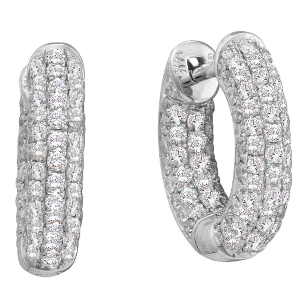 14kt White Gold  Round Pave-set Diamond Dainty Huggie Hoop Earrings .75ct