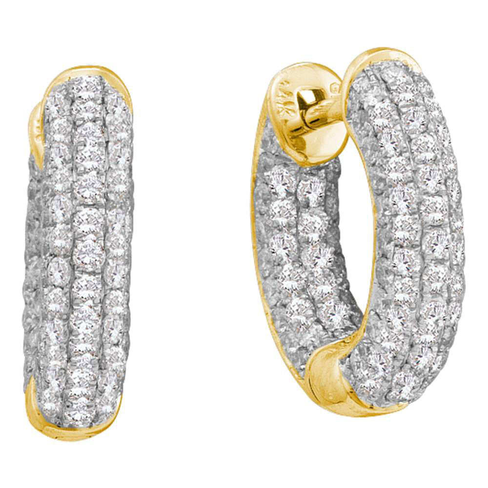 14kt Yellow Gold  Round Diamond Huggie Earrings .75ct