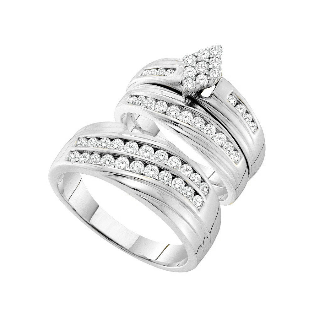 14kt White Gold His & Hers Round Diamond Cluster Matching Bridal Wedding Ring Band Set 1.15ct