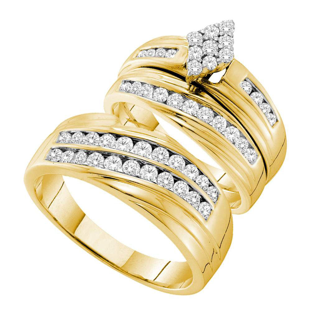 14kt Yellow Gold His & Hers Round Diamond Cluster Matching Bridal Wedding Ring Band Set 1.15ct