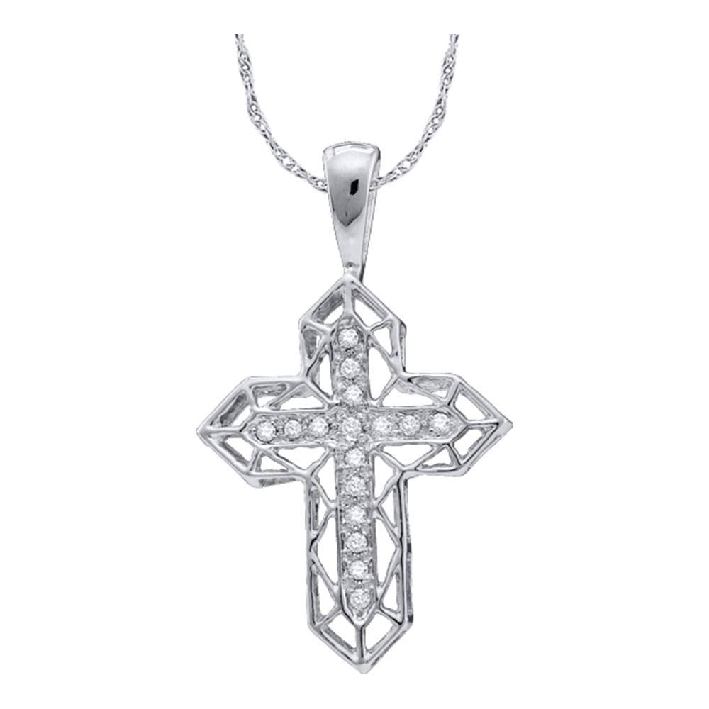10kt White Gold Womens Round Diamond Cross Frame Religious Pendant .13ct