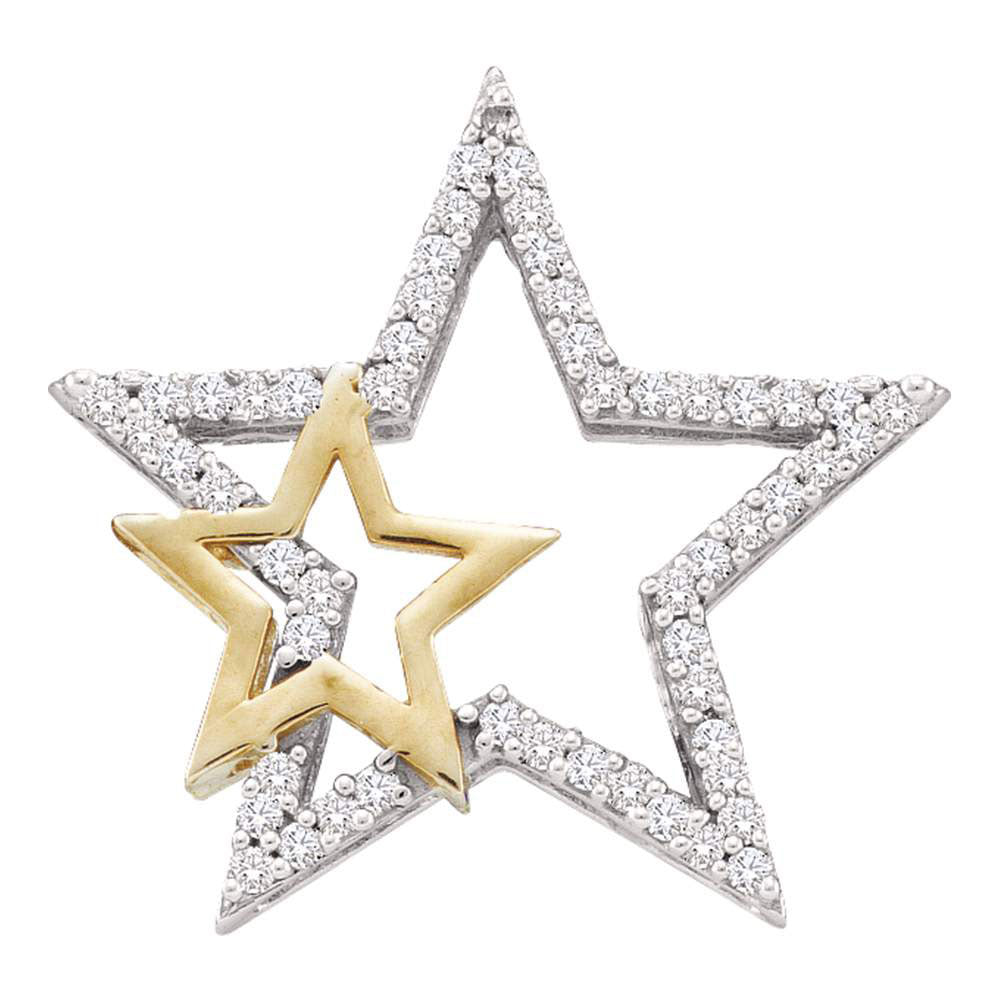 10kt Yellow Gold Womens Round Diamond Two-tone Double Star Outline Pendant .17ct