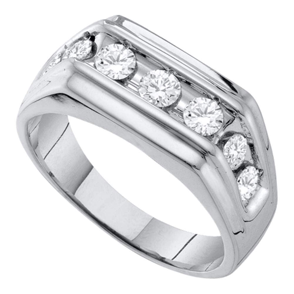 10kt White Gold Mens Round Diamond Squared Edges Single Row Band Ring 1.00ct