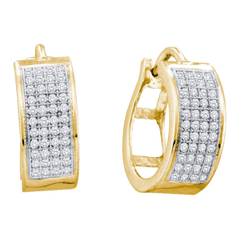 Yellow-tone Sterling Silver  Round Diamond Huggie Earrings .25ct