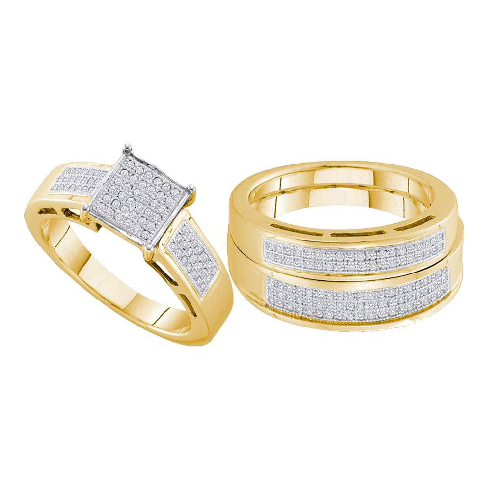 Yellow-tone Sterling Silver His & Hers Round Diamond Cluster Matching Bridal Wedding Ring Band Set .63ct