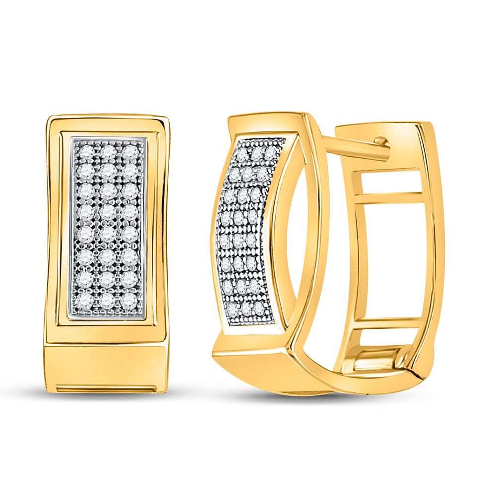 10kt Yellow Gold  Round Diamond Triple Row Huggie Earrings .17ct