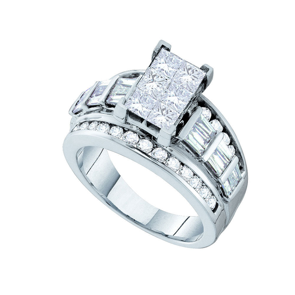 14kt White Gold Womens Princess Diamond Elevated Cluster Bridal Wedding Engagement Ring 3.00ct