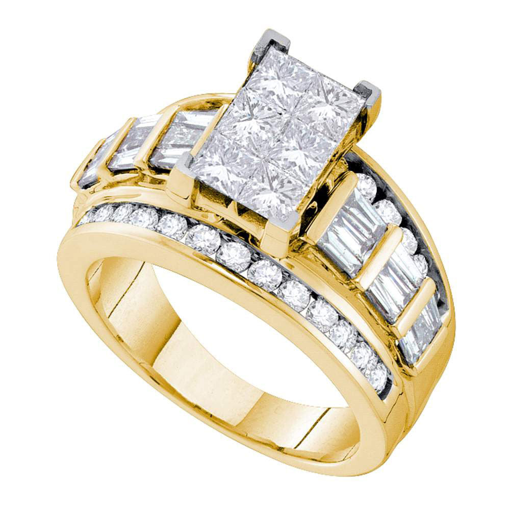 14kt Yellow Gold Womens Princess Diamond Elevated Cluster Bridal Wedding Engagement Ring 3.00ct