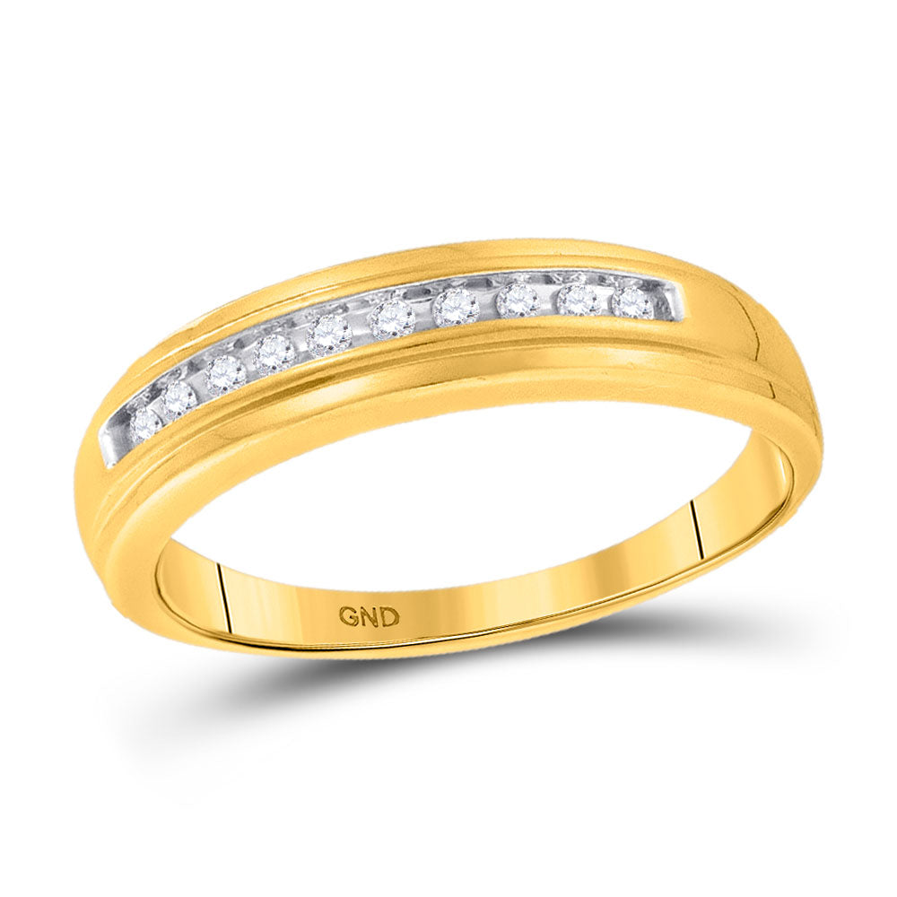 10kt Yellow Gold Mens Round Diamond Single Row Channel-set Wedding Band Ring .13ct