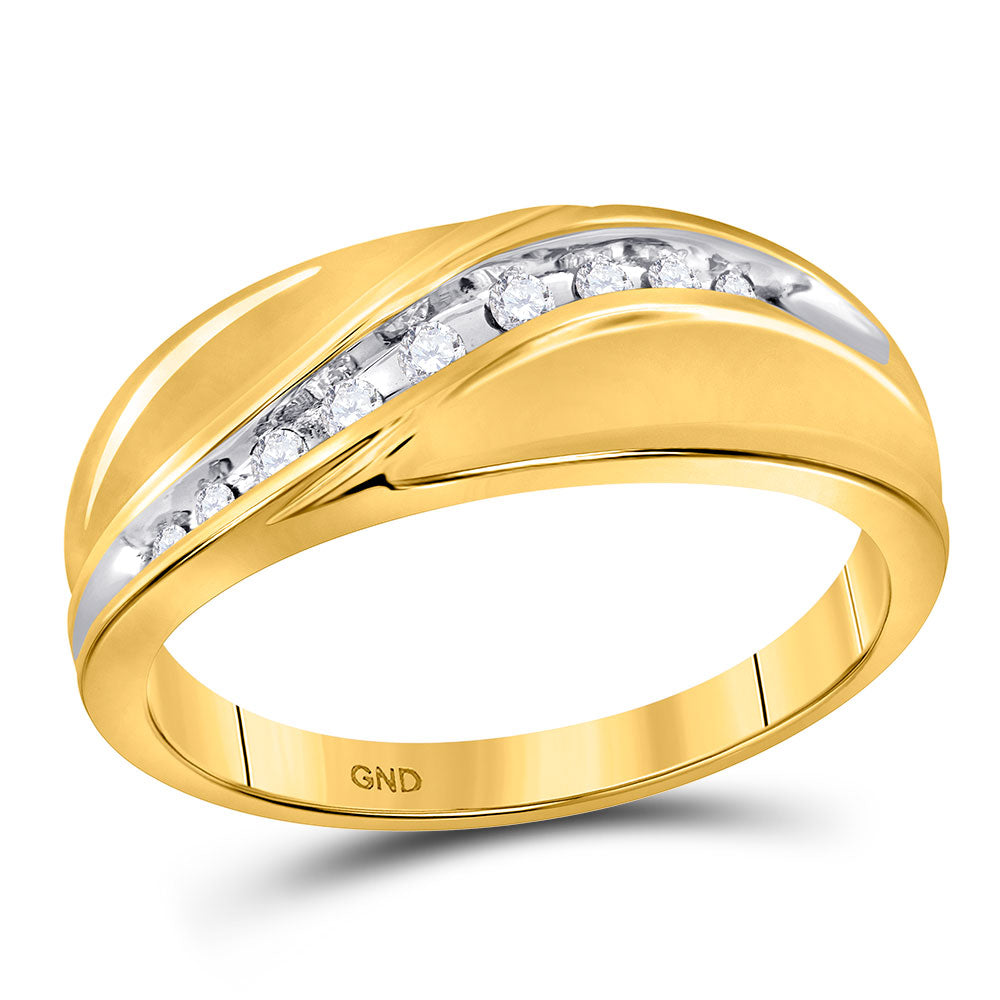 10kt Yellow Gold Mens Round Diamond Single Row Band Ring .13ct