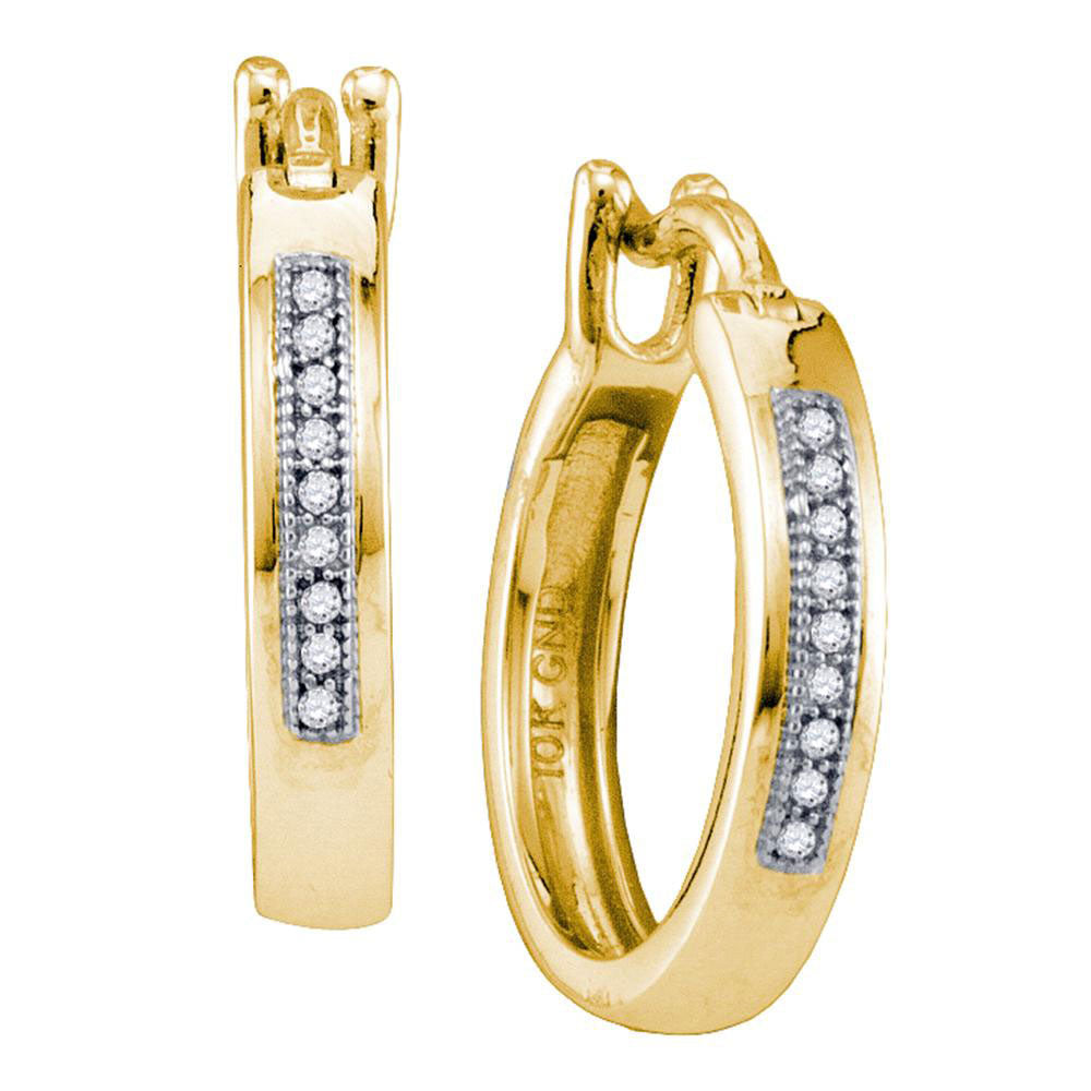 10kt Yellow Gold  Round Diamond Single Row Huggie Hoop Earrings 0.05ct