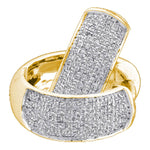 10kt Yellow Gold  Round Pave-set Diamond Huggie Hoop Earrings .50ct