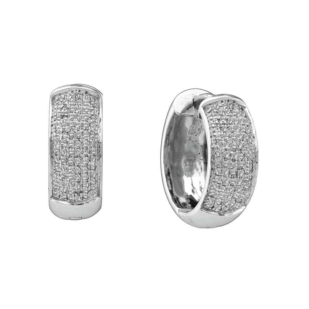 10kt White Gold  Round Pave-set Diamond Huggie Hoop Earrings .50ct