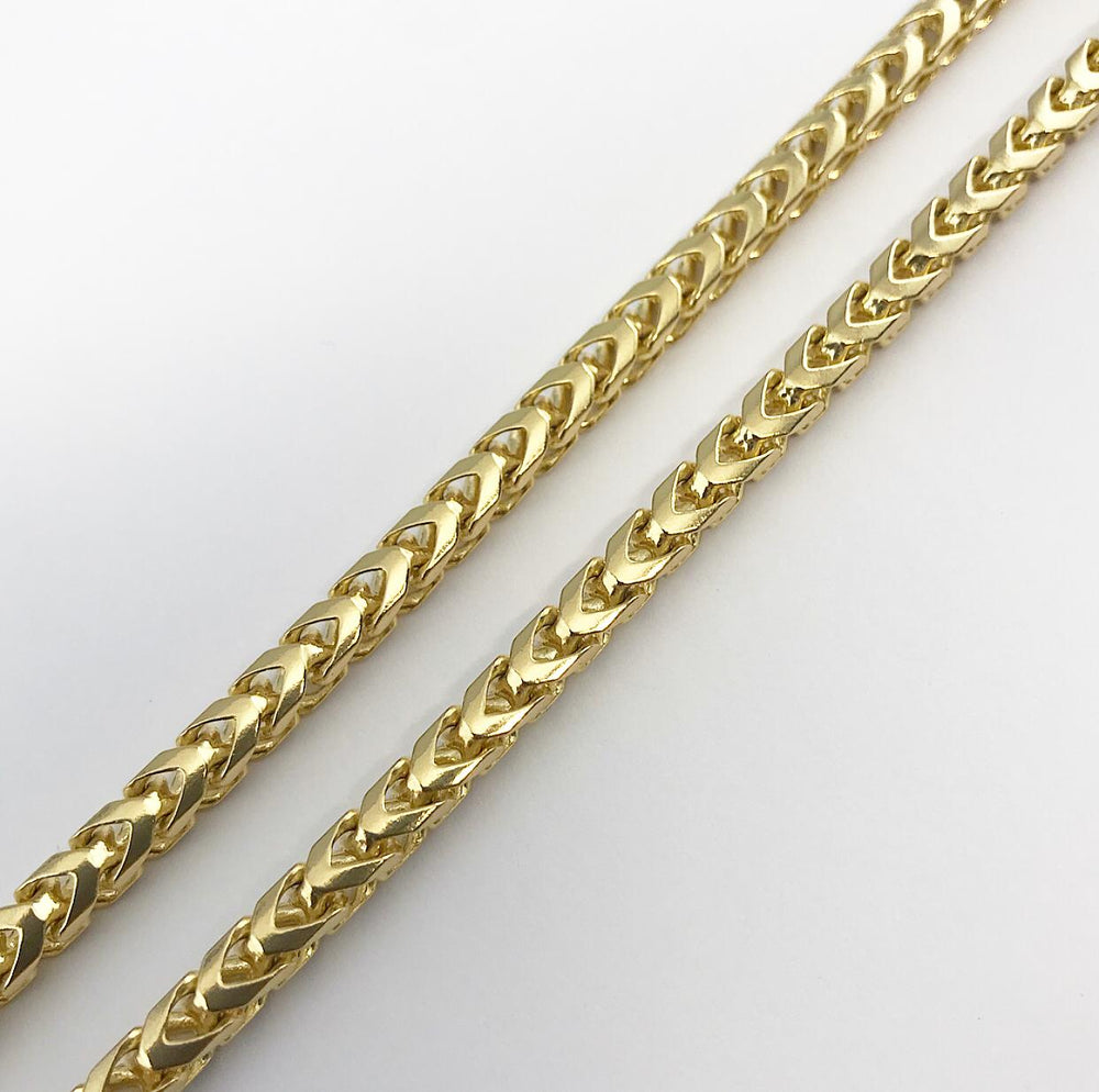9ct 4mm Yellow Gold Diamond-Cut Franco Chain / Bracelet (Solid)
