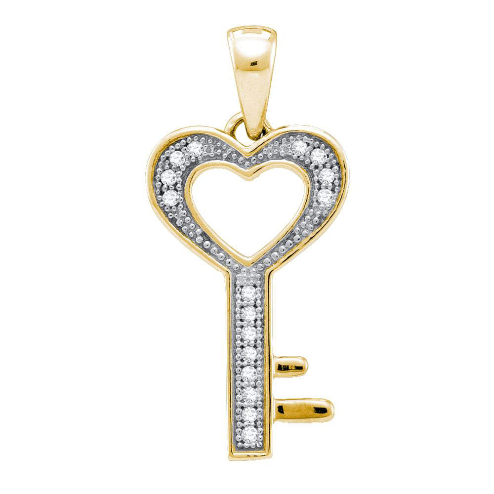 Yellow-tone Sterling Silver Womens Round Diamond Key Love Pendant 0.05ct