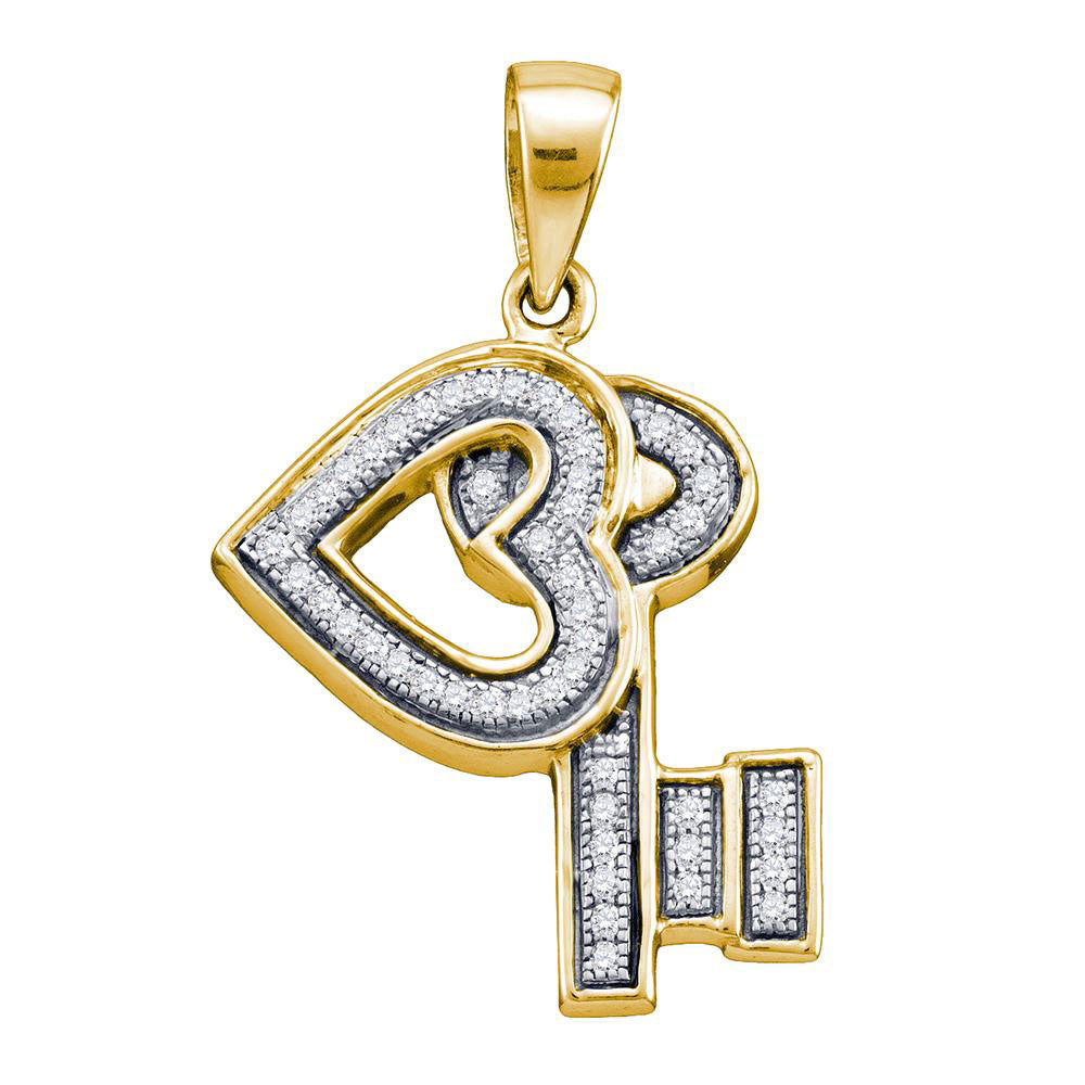 Yellow-tone Sterling Silver Womens Round Diamond Key Love Heart Pendant .13ct