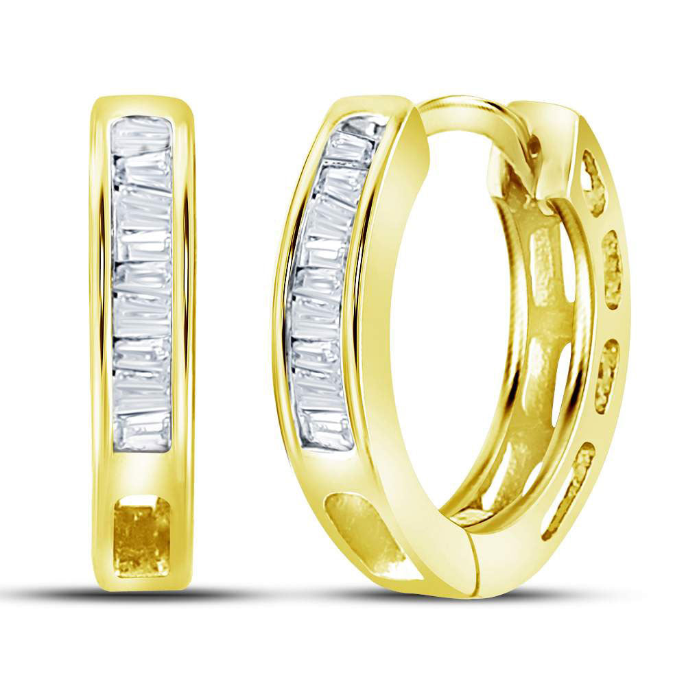 Yellow-tone Sterling Silver  Baguette Diamond Huggie Earrings .13ct