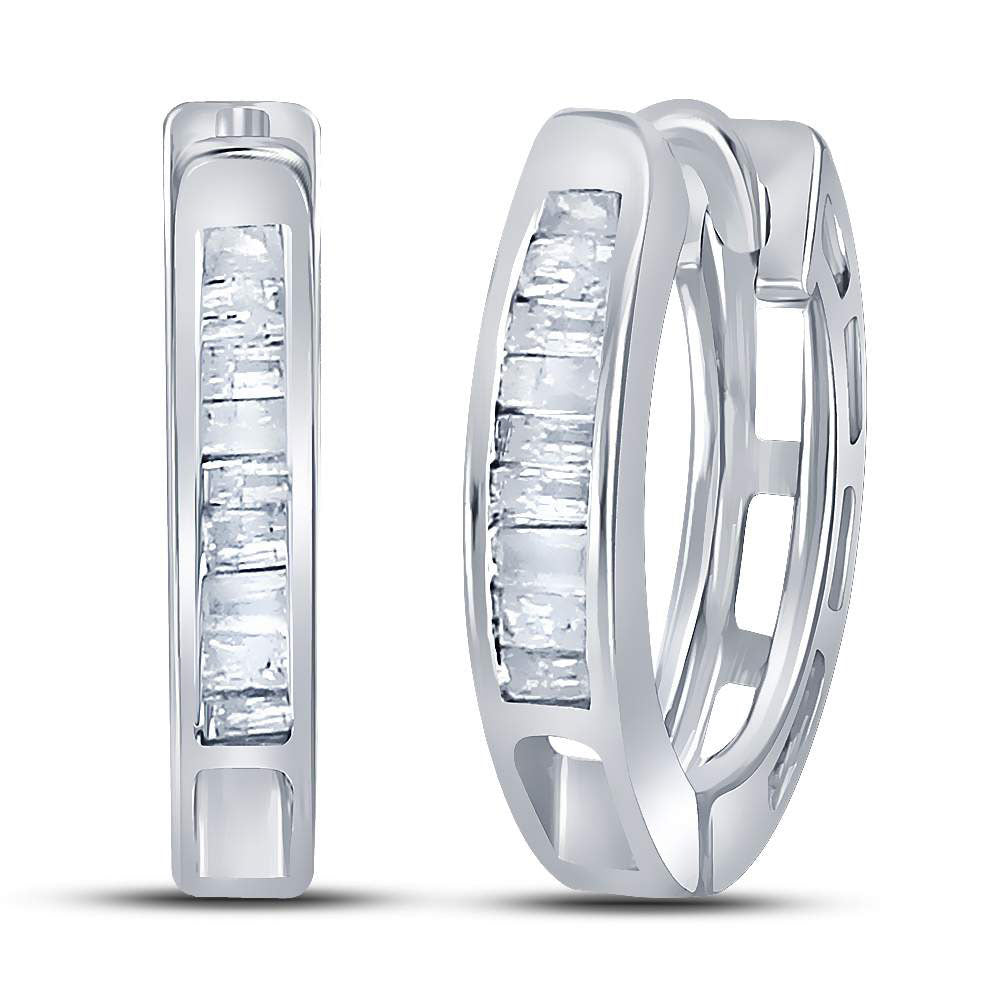 Sterling Silver  Baguette Diamond Huggie Earrings .13ct