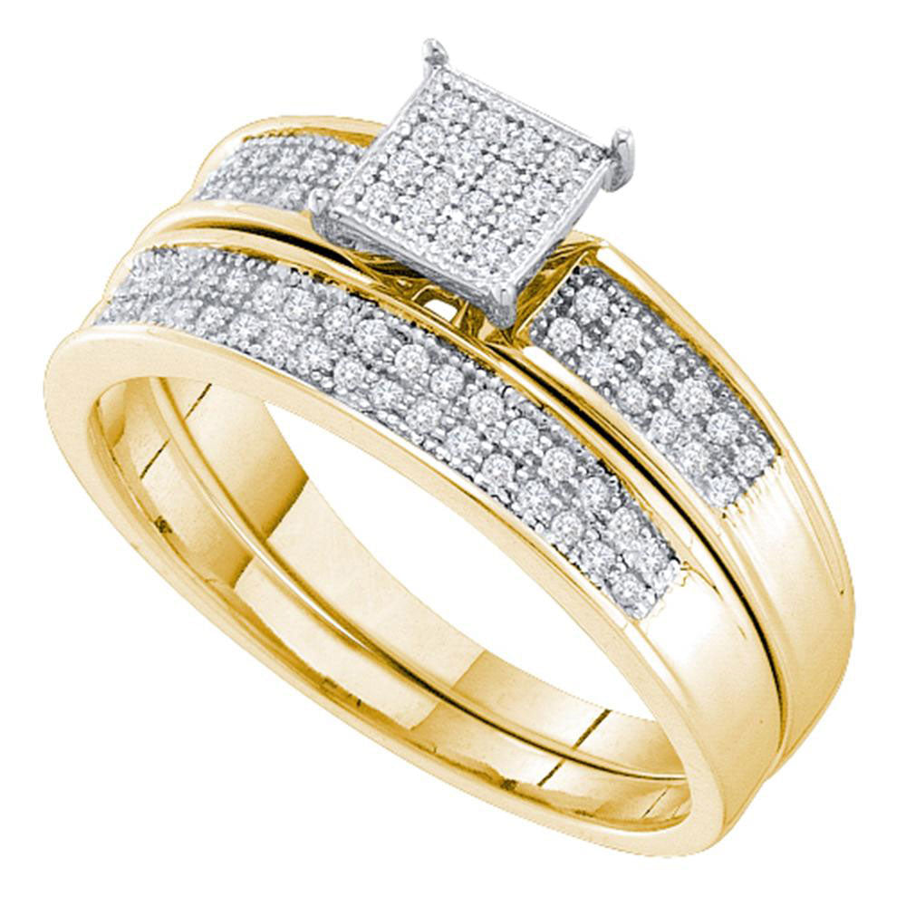 Yellow-tone Sterling Silver Womens Round Diamond Cluster Bridal Wedding Engagement Ring Band Set .15ct