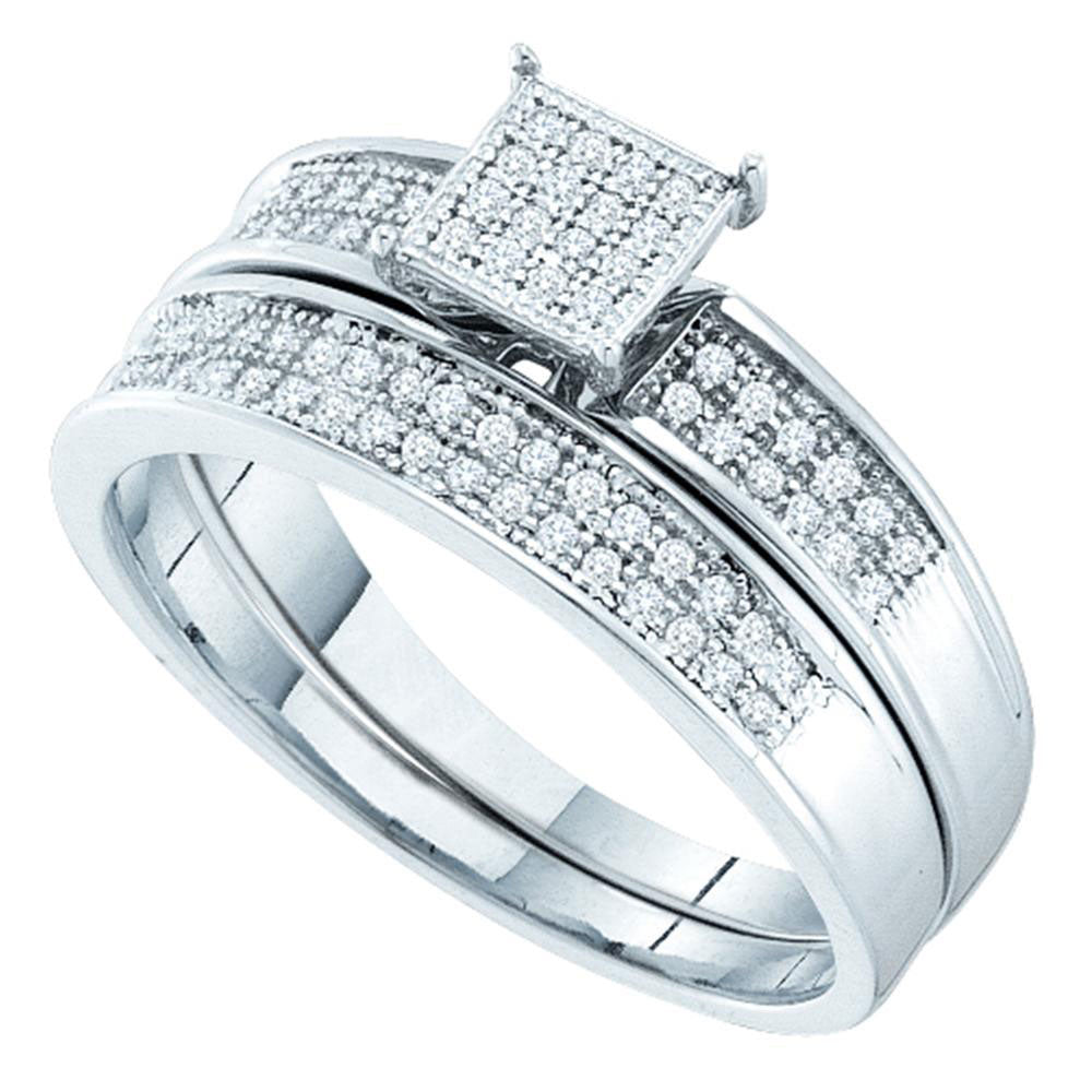 Sterling Silver Womens Round Diamond Bridal Wedding Engagement Ring Band Set .15ct