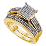 Yellow-tone Sterling Silver Womens Round Diamond Cluster Bridal Wedding Engagement Ring Band Set .35ct