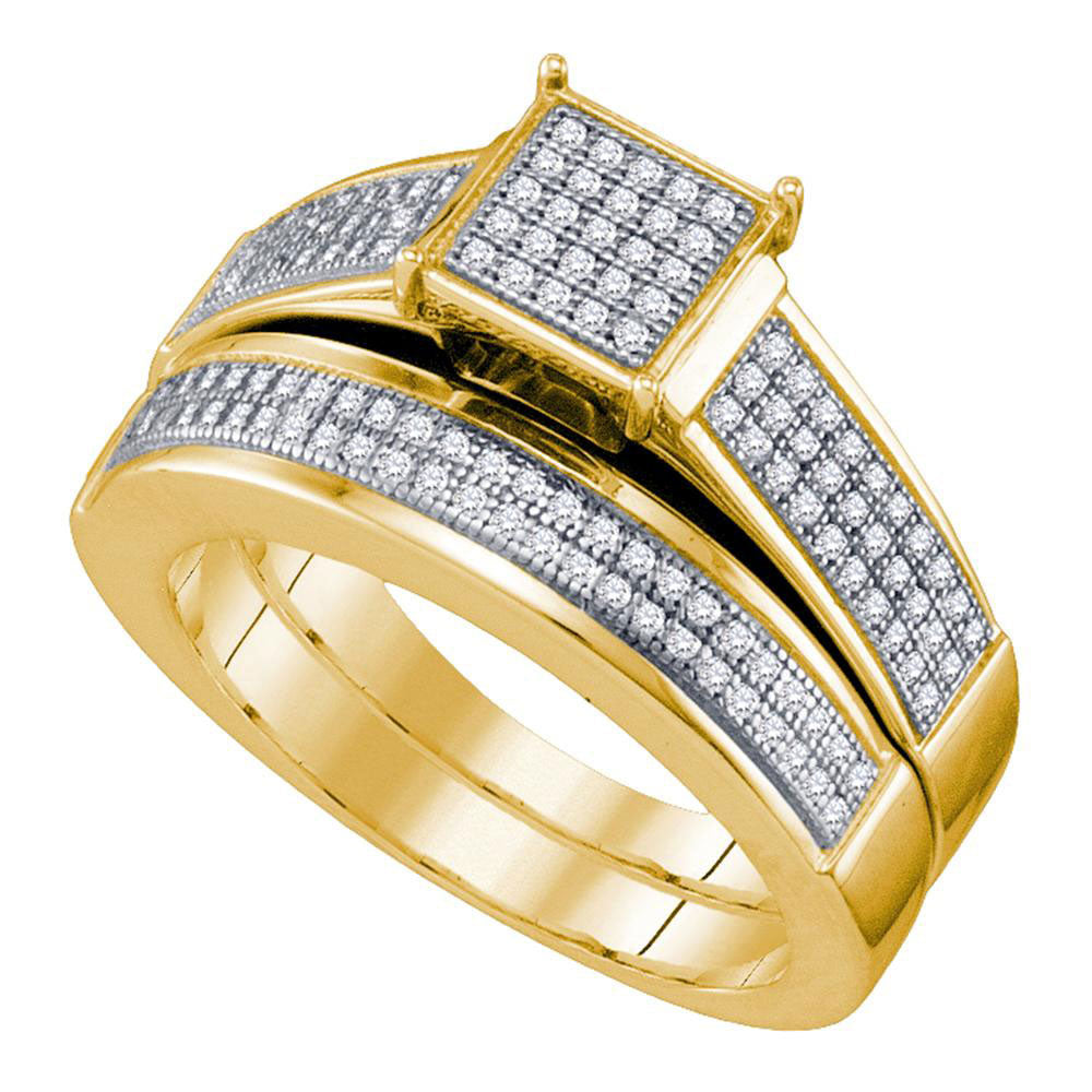 Yellow-tone Sterling Silver Womens Diamond Square Cluster Bridal Wedding Engagement Ring Band Set .38ct