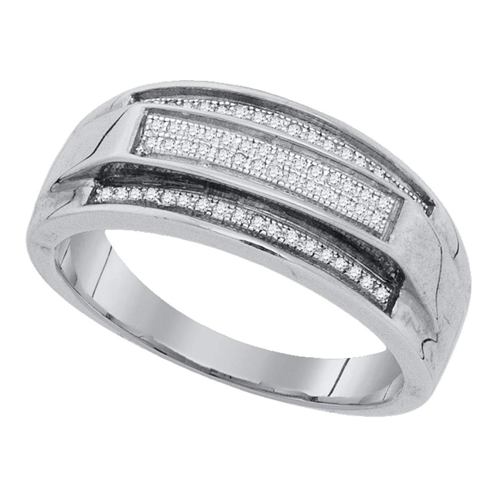 Sterling Silver Mens Round Pave-set Diamond Elevated Band Ring .15ct