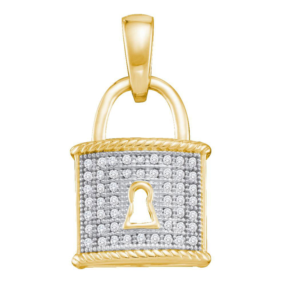 10kt Yellow Gold Womens Round Diamond Key Lock Drop Pendant .13ct
