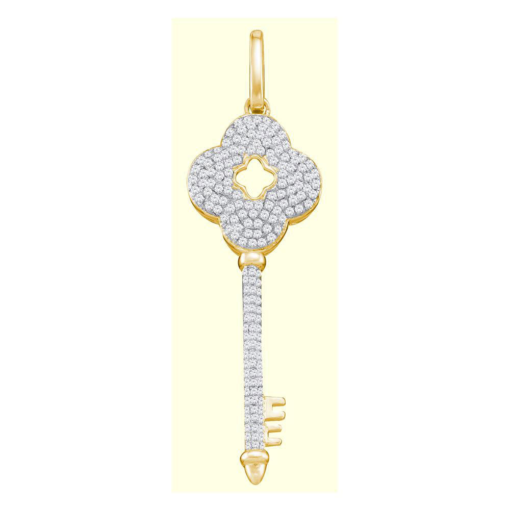 10kt Yellow Gold Womens Round Diamond Quatrefoil Key Pendant .50ct