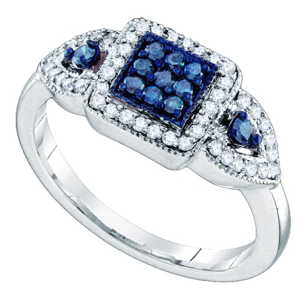 10kt White Gold Womens Round Blue Color Enhanced Diamond Square Cluster Ring .50ct
