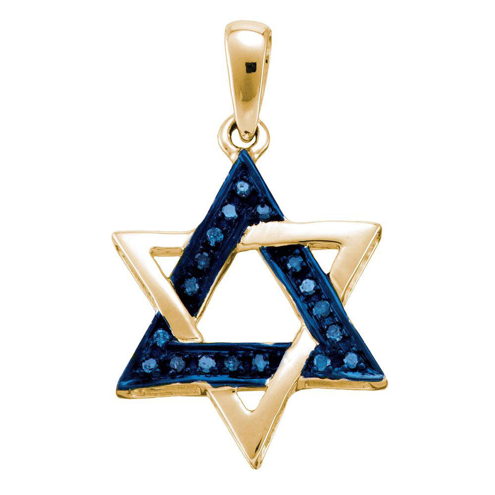 10k Yellow Gold Blue Color Enhanced Diamond Womens Star Magen David Religious Heritage Pendant .10ct