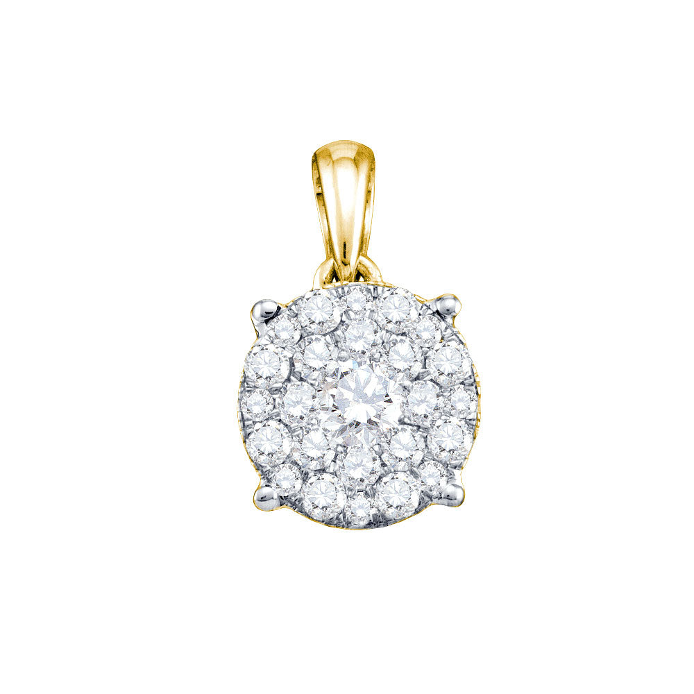 14kt Yellow Gold Womens Round Diamond Solitaire Cluster Pendant .25ct