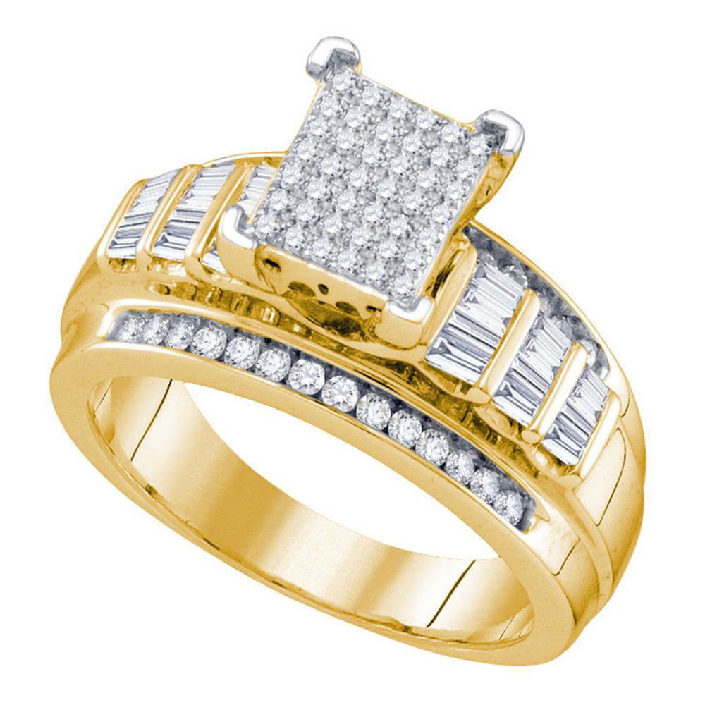 Yellow-tone Sterling Silver Womens Round Diamond Cluster Bridal Wedding Engagement Ring .63ct