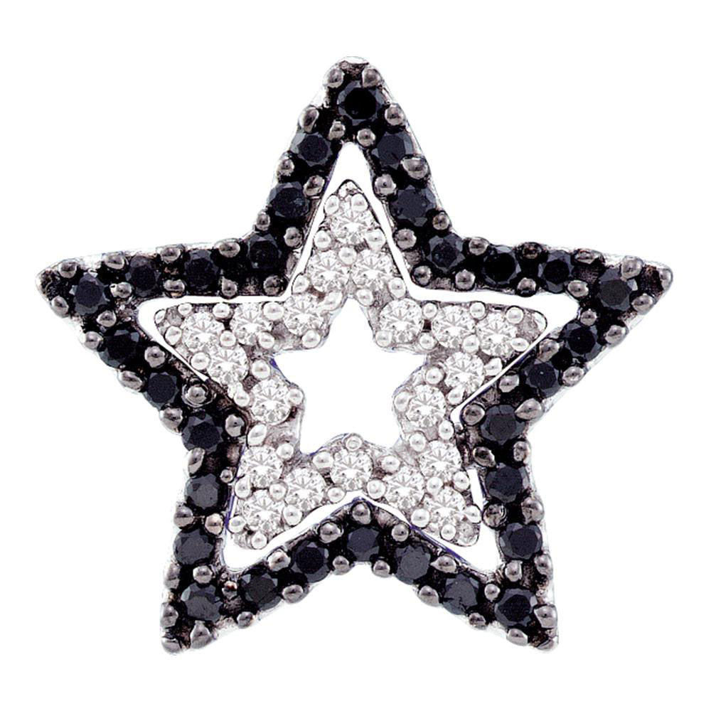 10kt White Gold Womens Round Black Color Enhanced Diamond Star Frame Cutout Pendant .35ct