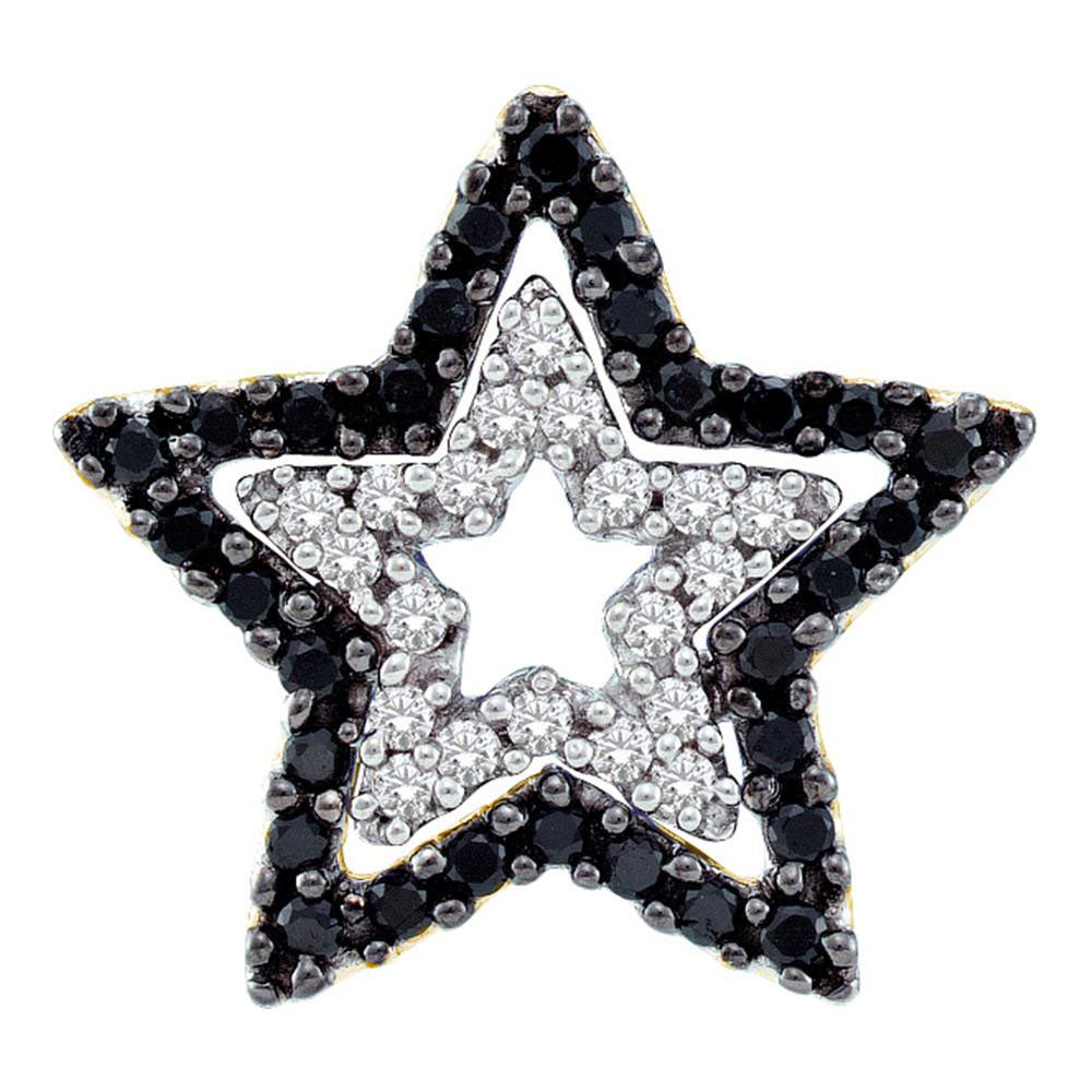 10kt Yellow Gold Womens Round Black Color Enhanced Diamond Star Frame Cutout Pendant .35ct