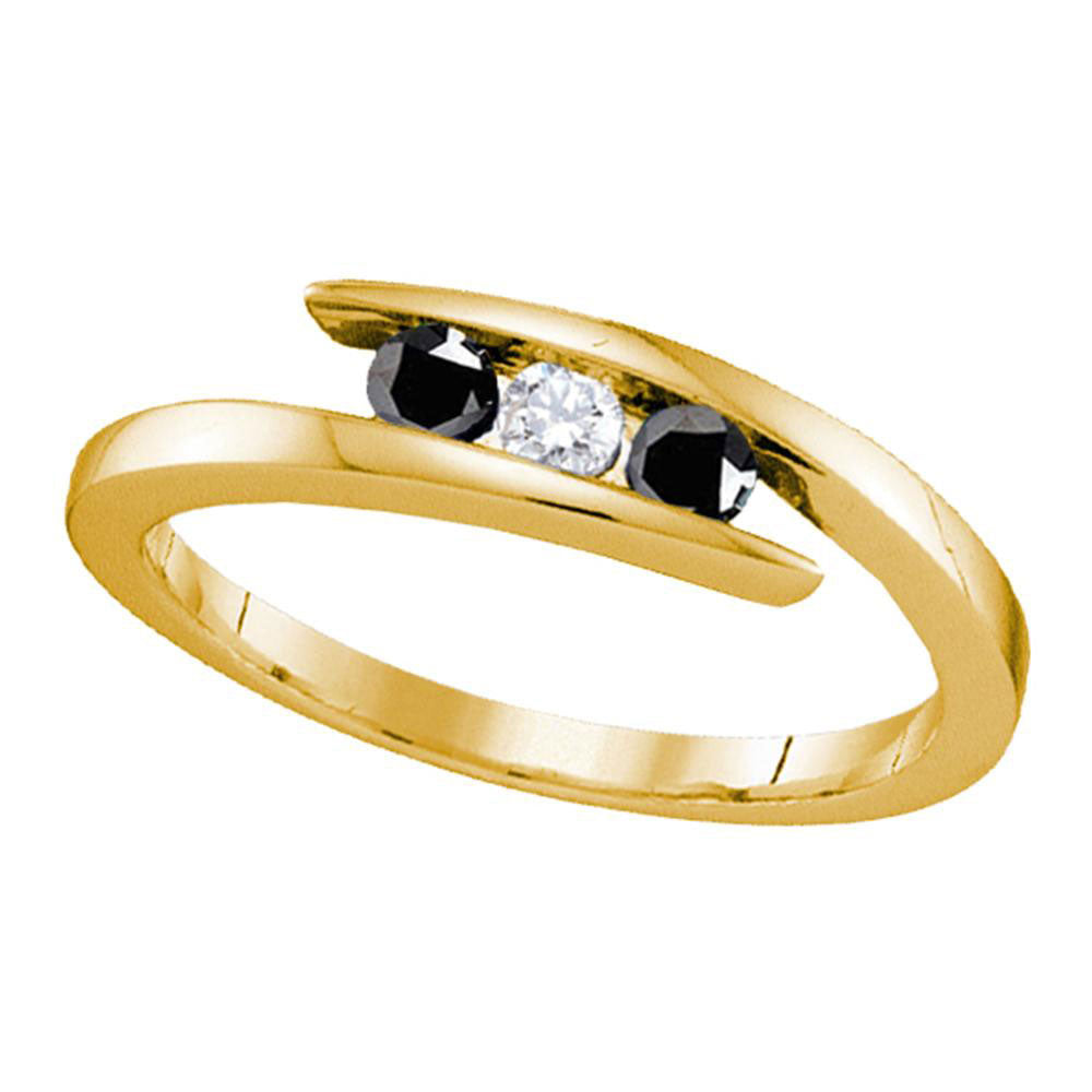 Yellow-tone Sterling Silver Womens Round Black Diamond 3stone Bridal Wedding Engagement Ring .25ct