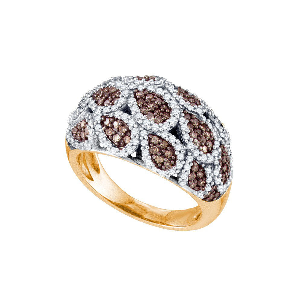 10kt Rose Gold Womens Round Brown Diamond Fashion Ring 1.00ct