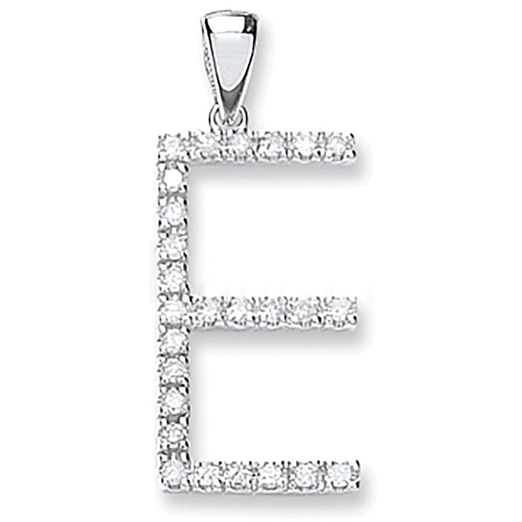 9ct White Gold 0.21ct Diamond E Letter Pendant