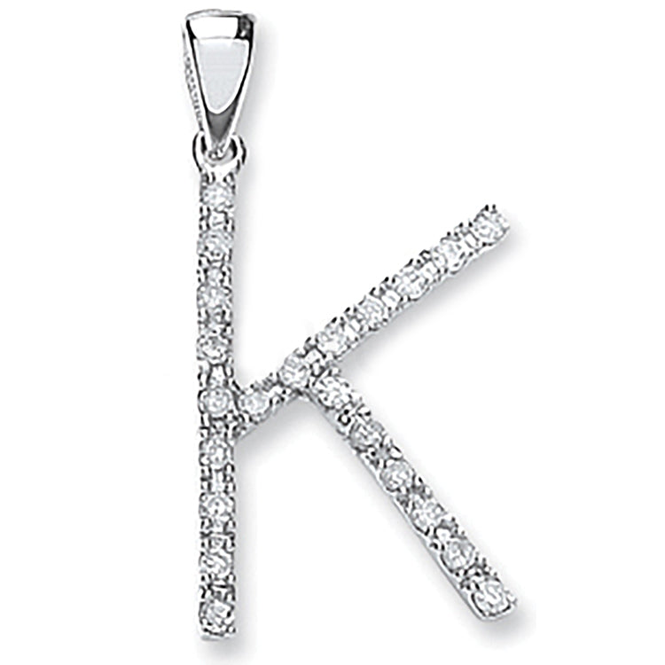 9ct White Gold 0.15ct Diamond K Letter Pendant