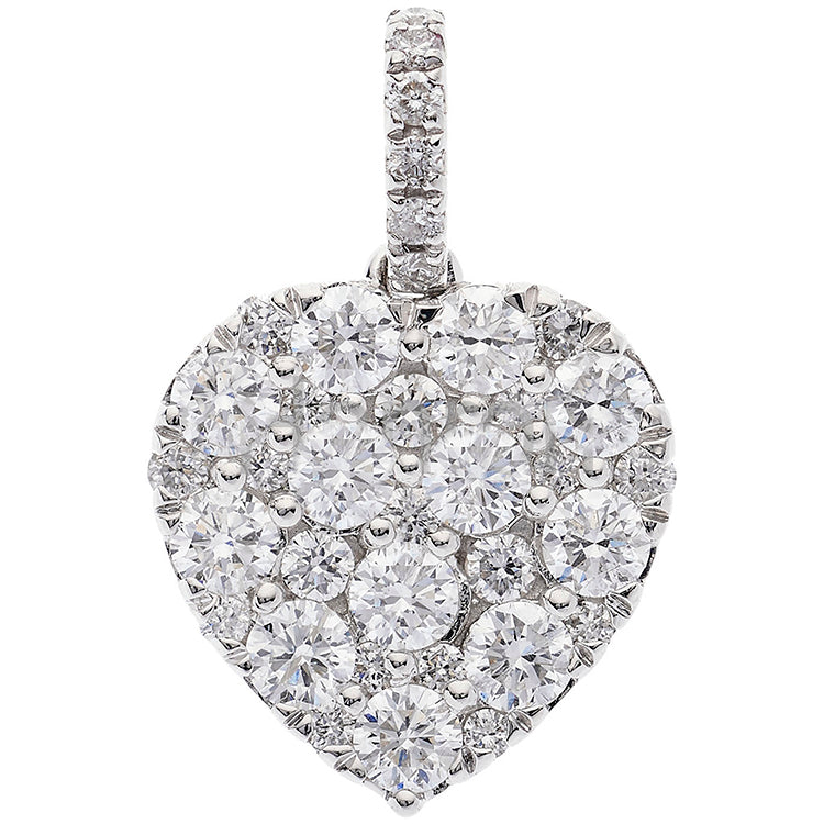 18ct White Gold 0.93ct Brilliant Cut Diamond Grain Set Heart Pend