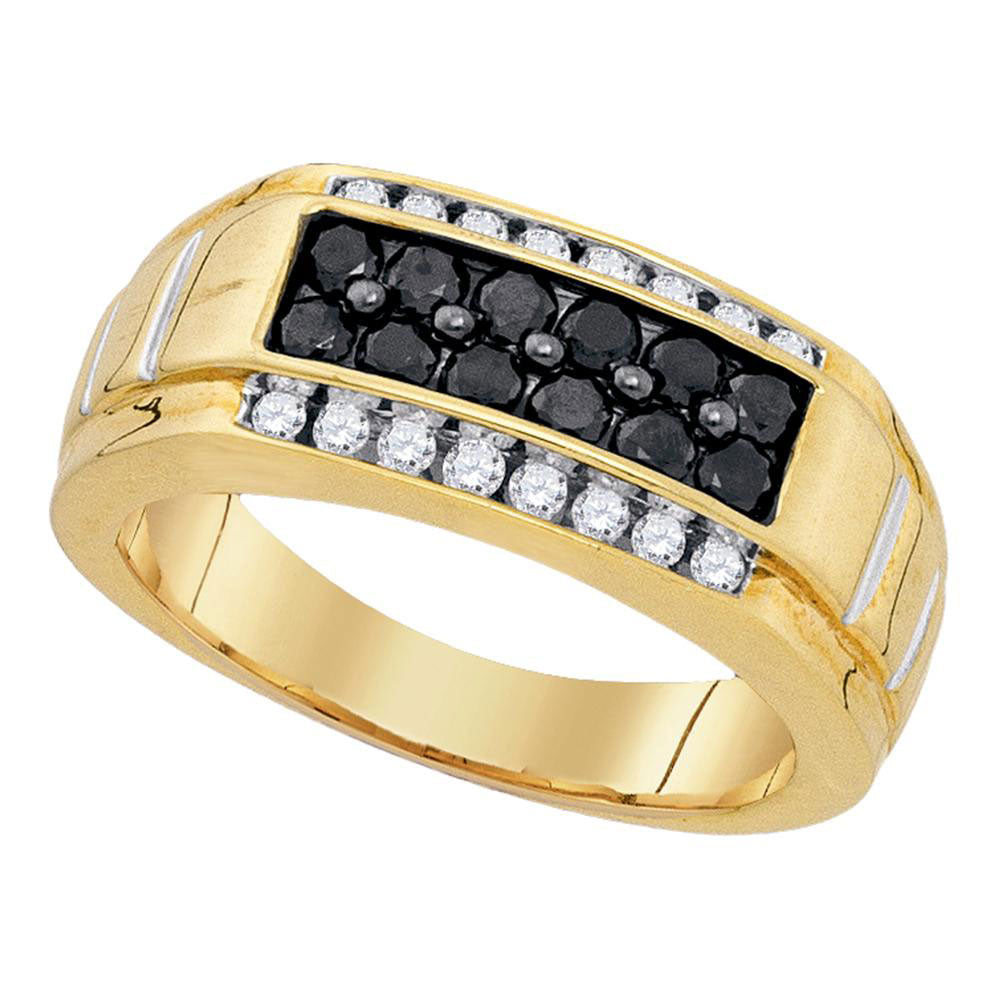 Yellow-tone Sterling Silver Mens Round Black Color Enhanced Diamond Rectangle Band Ring 1.00ct