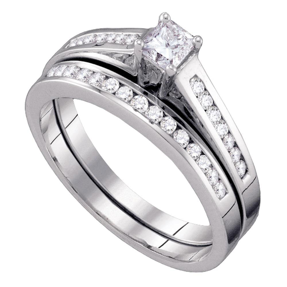 10kt White Gold Womens Princess Diamond Bridal Wedding Engagement Ring Band Set .50ct
