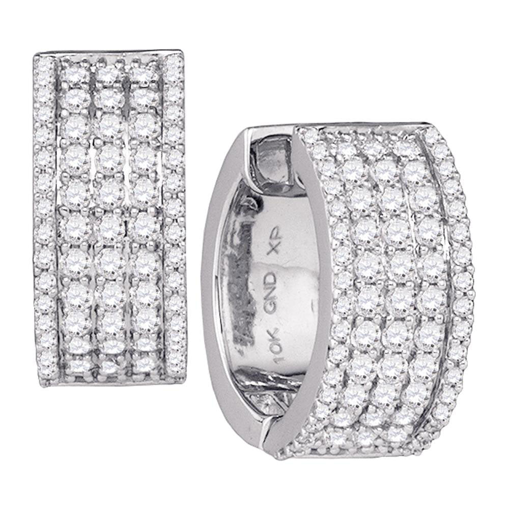 10kt White Gold  Round Diamond Huggie Earrings 1.75ct
