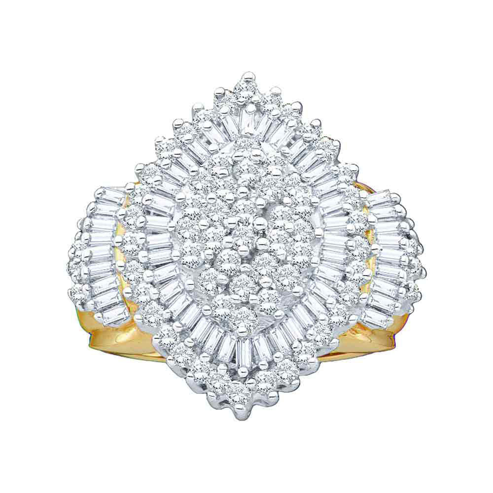 10kt Yellow Gold Womens Round Diamond Oval Cluster Ring 2.00ct