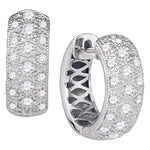 14kt White Gold  Round Diamond Huggie Earrings .75ct