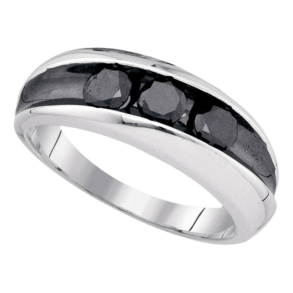 Sterling Silver Mens Round Black Color Enhanced Diamond 3stone Band Ring 1.00ct