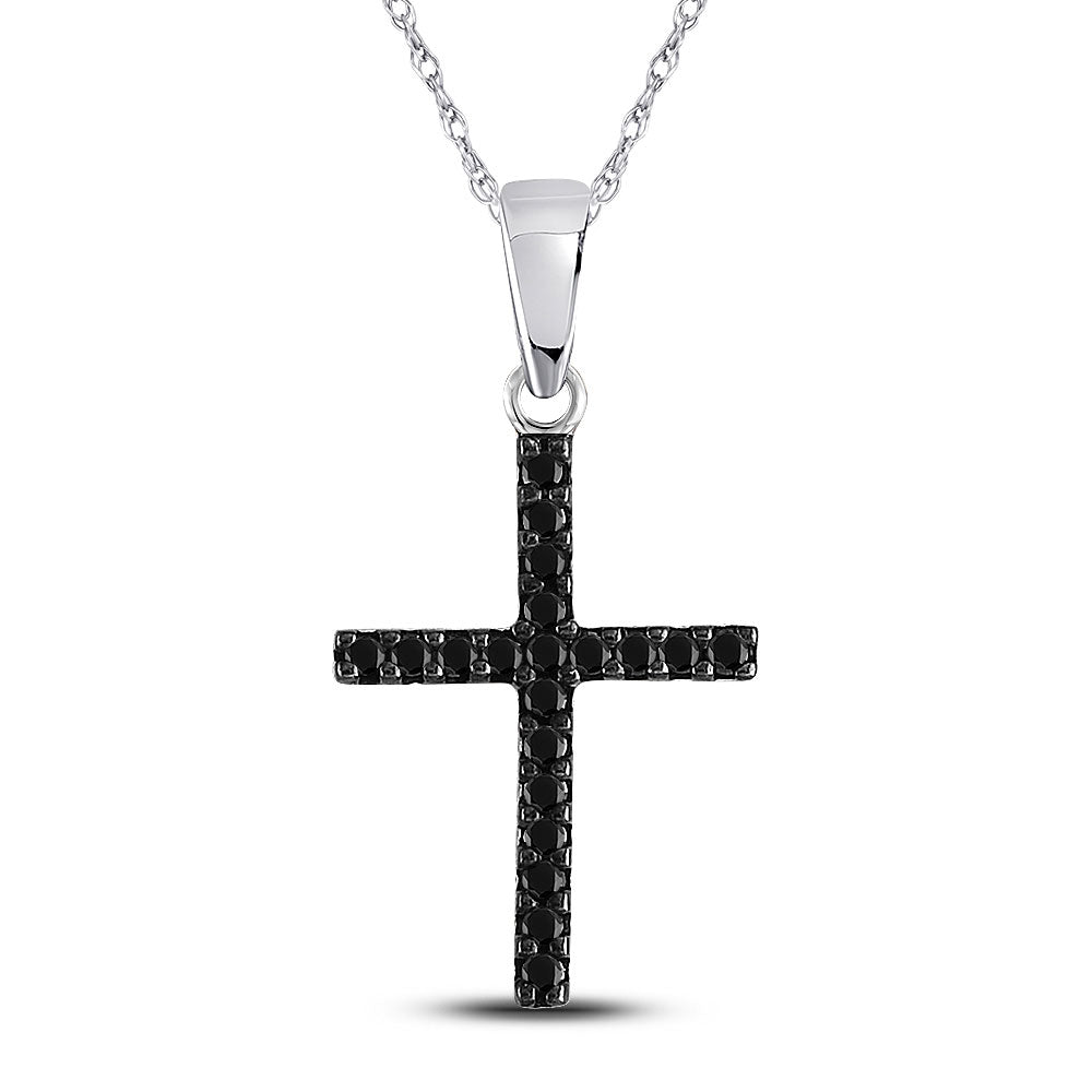 10kt White Gold Womens Round Black Color Enhanced Diamond Cross Religious Pendant .15ct